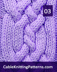 Cable Knitting 03 - Free Pattern. Knit with 27 stitches and 20-row repeat, techniques used: 3/1/3 right purl cross, 3/1/3 left purl cross