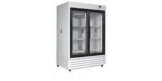 laboratory refrigerator configured for chromatography process glass doors electrical outlets wall ports