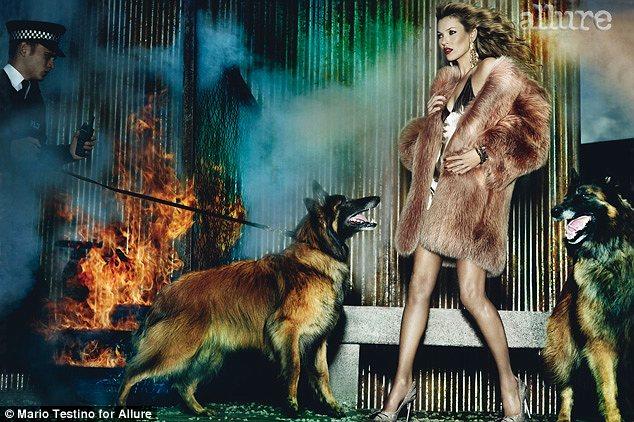 Η Kate Moss φοράει γούνα στο τεύχος Αυγούστου 2013 του περιοδικού Allure