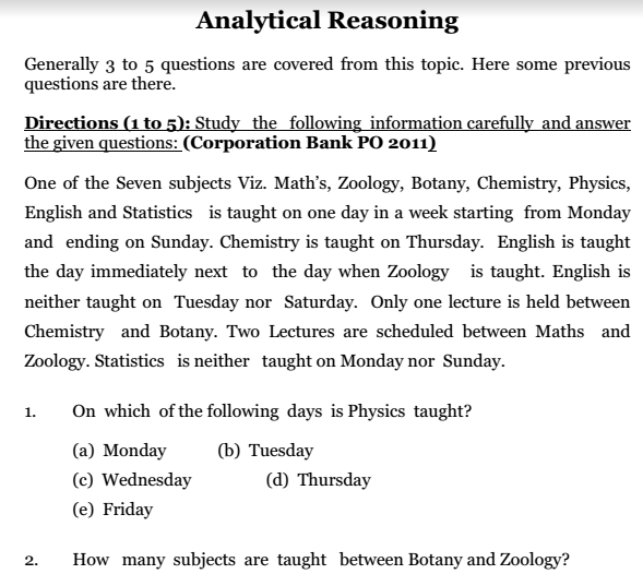 Reasoning Questions Answers Pdf Bank Exam