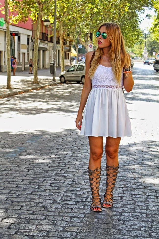 White Dress paired with Gladiator Sandals