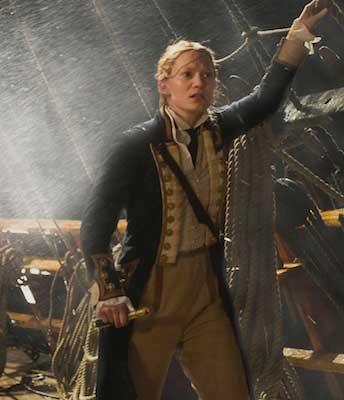 Alice Através do espelho figurino, azul, capitã do navio