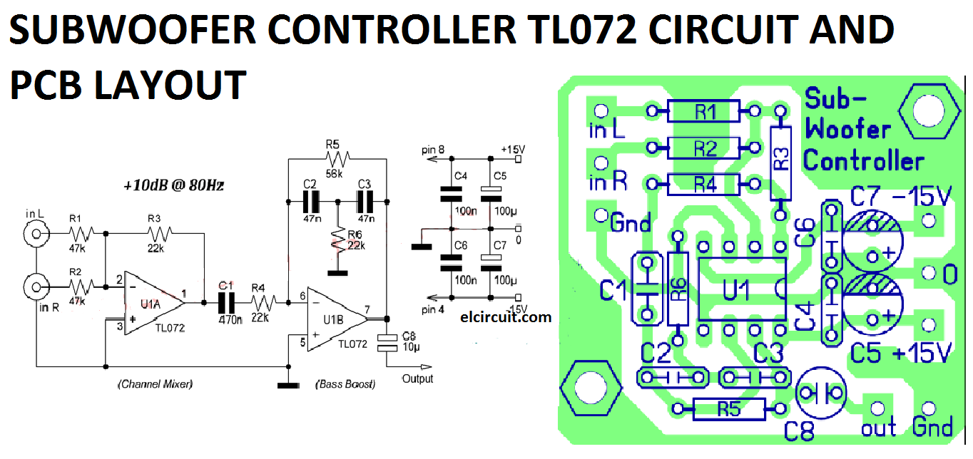 Subwoofer Controller Uses A Single Ic Tl072 Electronic Circuit Lm324 Op Amp Http Wwwpic2flycom Lm324opamphtml Diagram