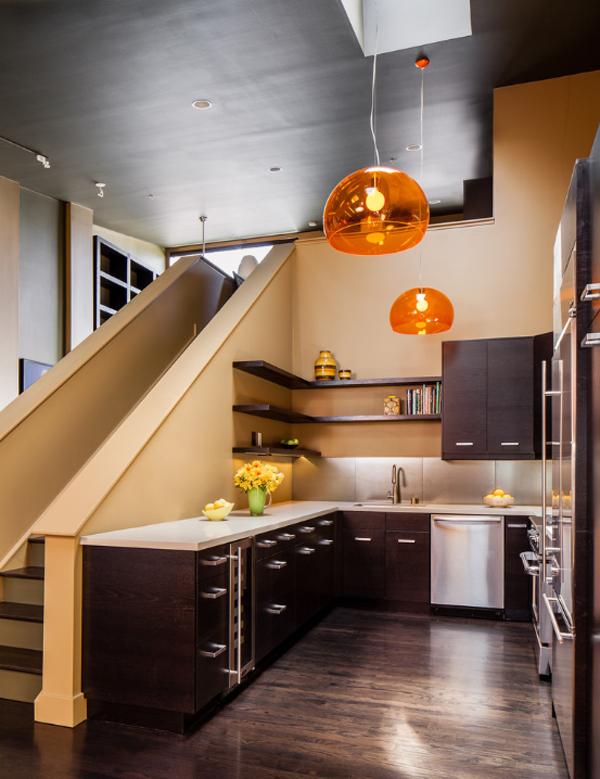 Open Kitchen Under Stairs