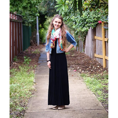 Fall Church Outfit Inspiration - Black Maxi Dress, Denim Jacket and Bright Silk Scarf