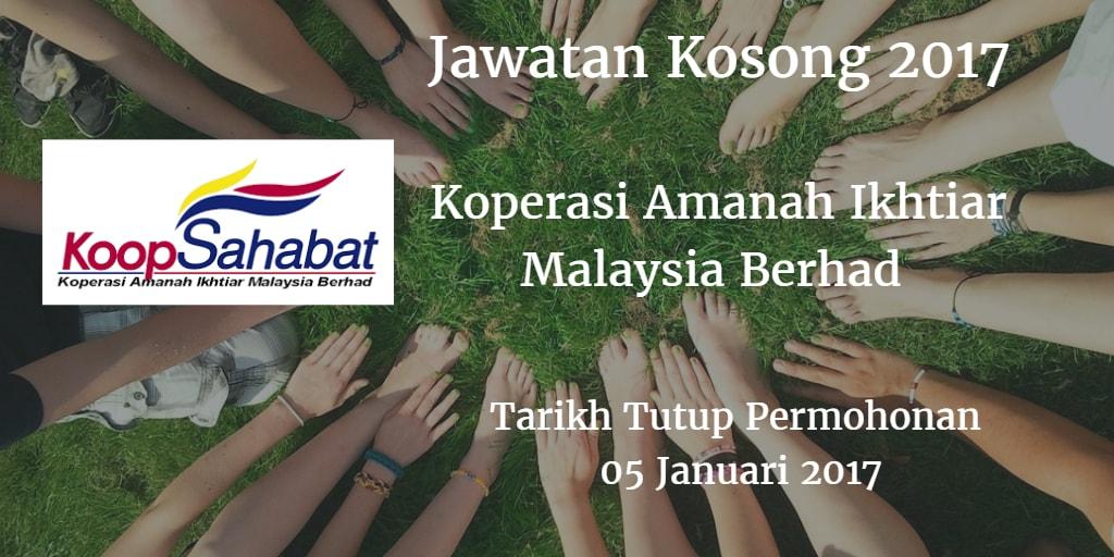 Jawatan Kosong Koperasi Amanah Ikhtiar Malaysia Berhad 05 Januari 2017