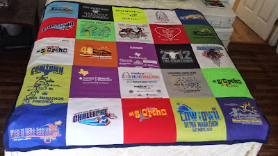sewing tips for constructing a t-shirt quilt from running athletic shirts (polyester), via refabulous
