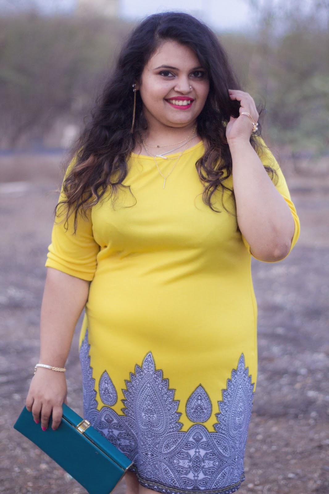 yellow dress reliance trends blue clutch colour blocking