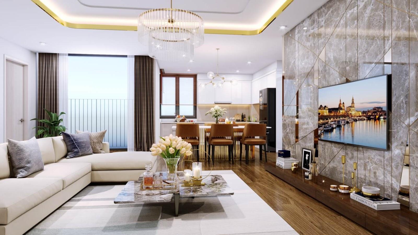 Phòng khách căn hộ đẳng cấp Amber Riverside