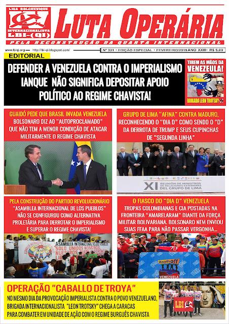 LEIA A EDIÇÃO ESPECIAL VENEZUELA DO JORNAL LUTA OPERÁRIA Nº 331