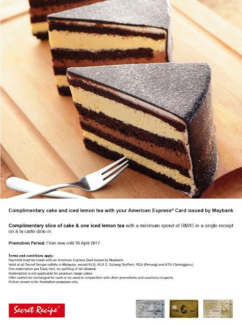 Maybank American Express Card Offer Promo Secret Recipe Free Cake Iced Lemon Tea
