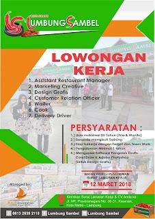 Loker Lampung Terbaru di Rumah Makan Lumbung Sambel Kota Metro Februari 2018.