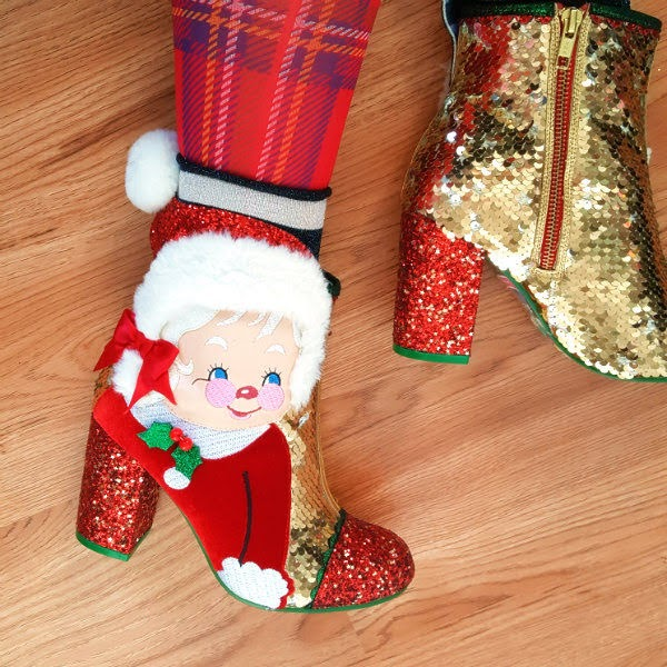 close up of Mrs Claus gold sequins and red glitter ankle boot