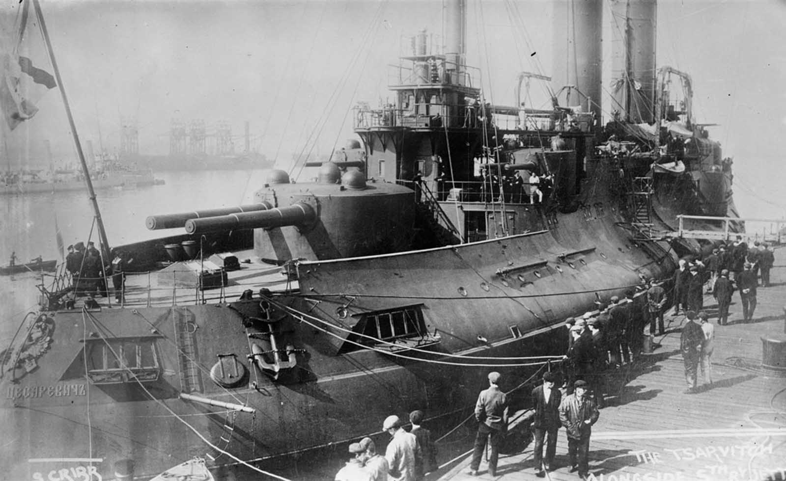 Russian battleship Tsesarevich, a pre-dreadnought battleship of the Imperial Russian Navy, docked, ca. 1915.