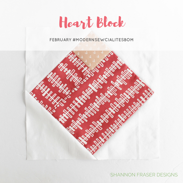 Modern Heart Quilt Block | February Modern Sewcialites BOM | Shannon Fraser Designs | #modernsewcialitesbom | Modern Quilting | Karen Lewis Textiles Blueberry Park