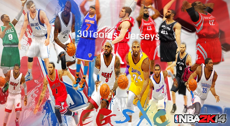 NBA 2K14 Retextured Jerseys Mod [30 NBA Teams]