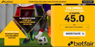 betfair supercuota victoria de Colombia a Polonia 24 junio