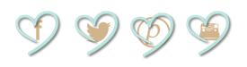 corazones celeste e iconos sociales café con leche