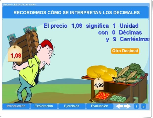 """""""Adición de decimales"""" (Aplicación interactiva de Matemáticas de Primaria)"""