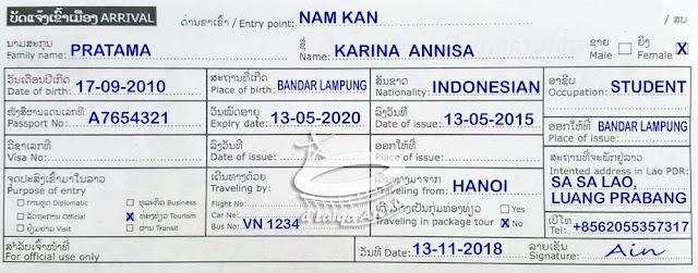 kartu kedatangan (arrival card)