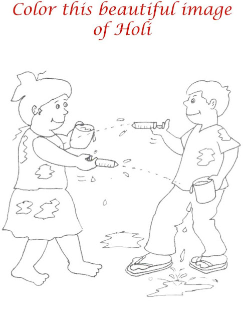 Happy Holi Colouring Page