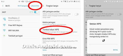 menu WPS Wi-Fi di HP Samsung galaxy