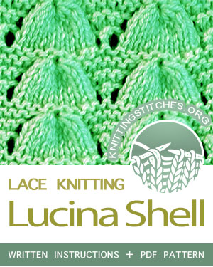 LACE KNITTING — #howtoknit the Lucina Shell Stitch, a very simple pattern. FREE Written instructions, PDF knitting pattern. #knitting #laceknitting