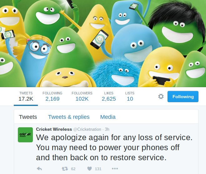 Cricket Wireless Service Restored After 15 Hour Outage