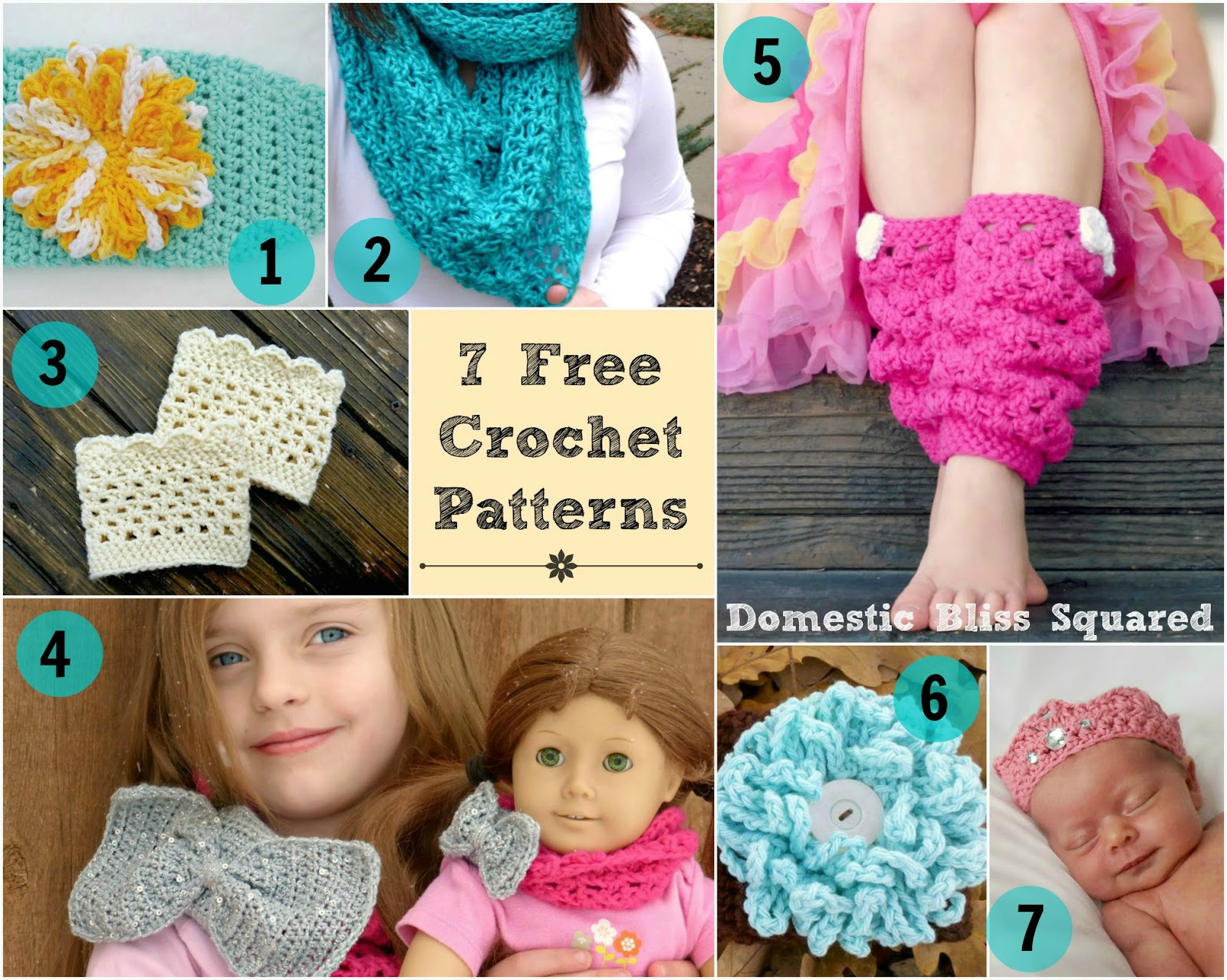 free crochet patterns: head wrap, scarf, boot cuffs, leg warmers, cowl scarf, loopy flower and newborn crown