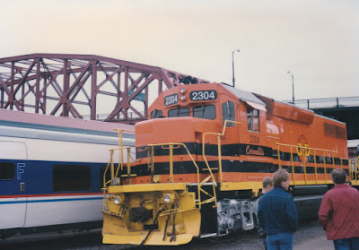 """Willamette & Pacific GP39-2 #2304 """"Corvallis"""" at Union Station in Portland, Oregon, on May 11, 1996"""