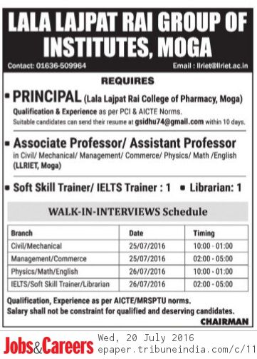 Library Soup : Librarian Vacancy in Lala Lajpat Rai Group of