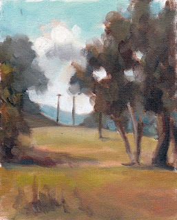 Oil painting of eucalypts with distant telephone poles in front distant hills.