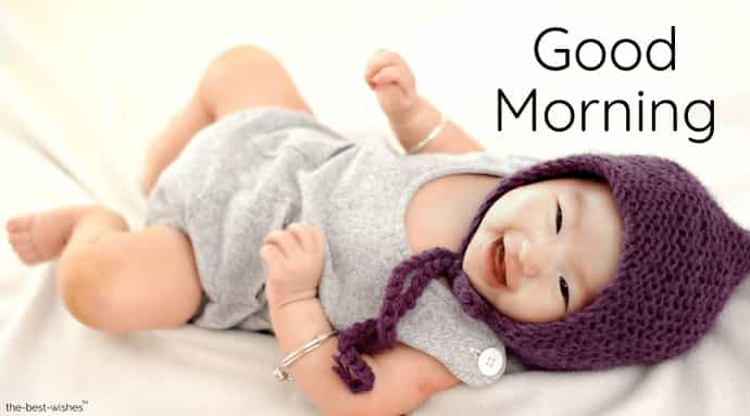 good morning with a cute baby expression images