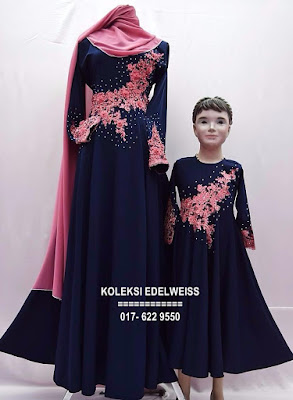 DRESS SET IBU ANAK BLUE BLACK