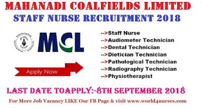 Staff Nurse Recruitment Mahanadi Coalfields Limited