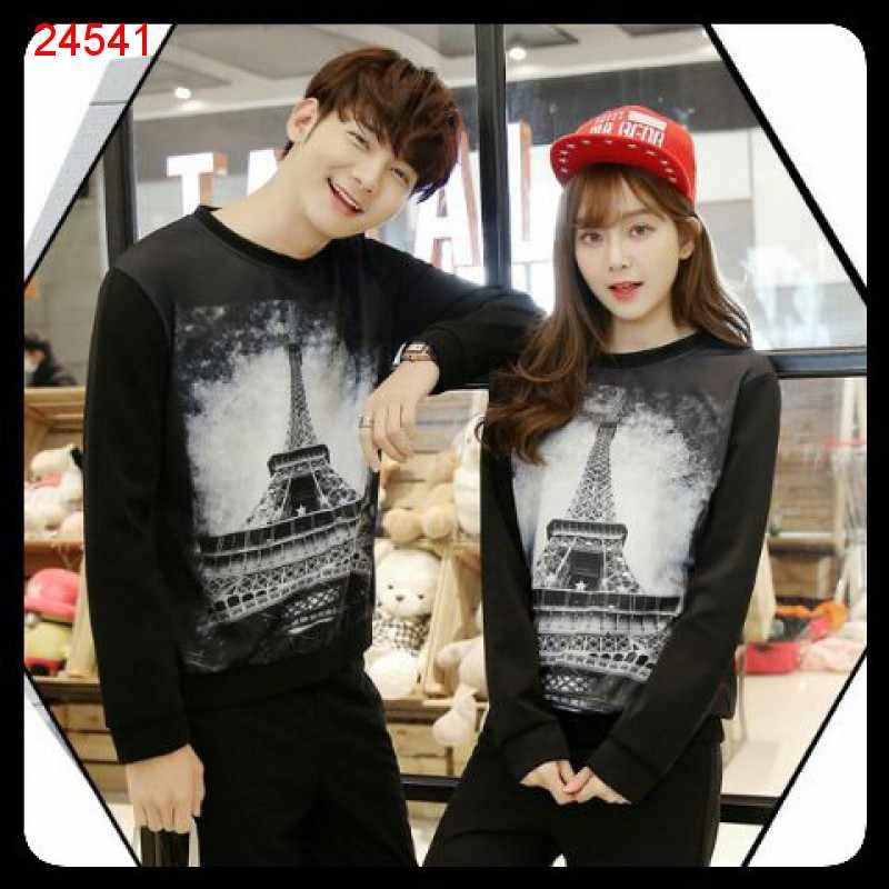 Jual Sweater Couple Sweater Paris Sephia Black - 24541