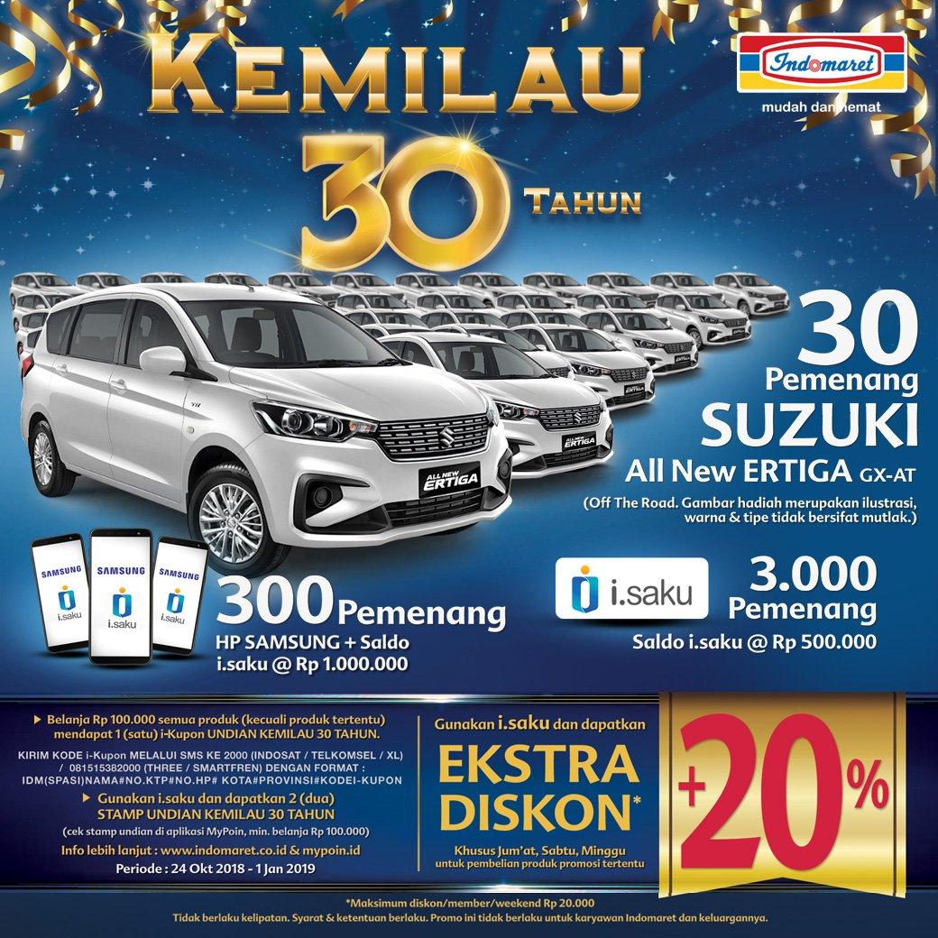 Indomaret Promo Undian Kemilau 30 Th Menangkan Mobil Suzuki Voucher Rp 100000 Sd 01 Jan 2019 Belanja