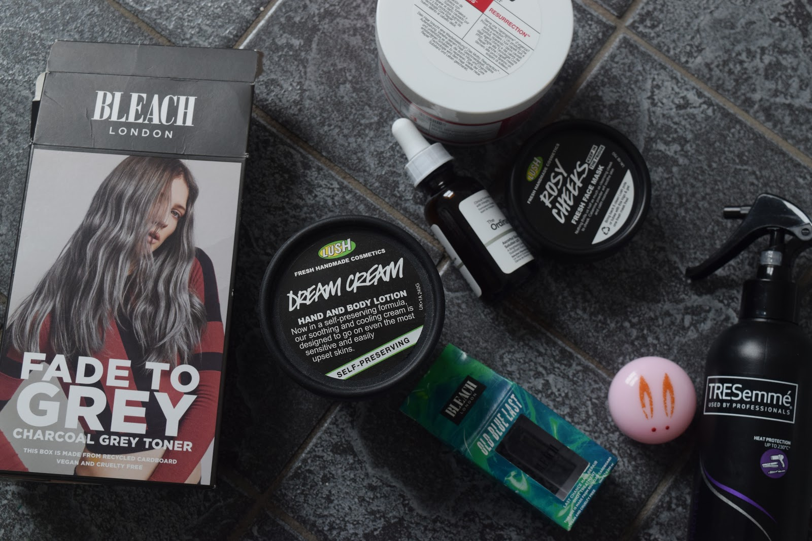 empty beauty products including Lush Bleach London The Ordinary