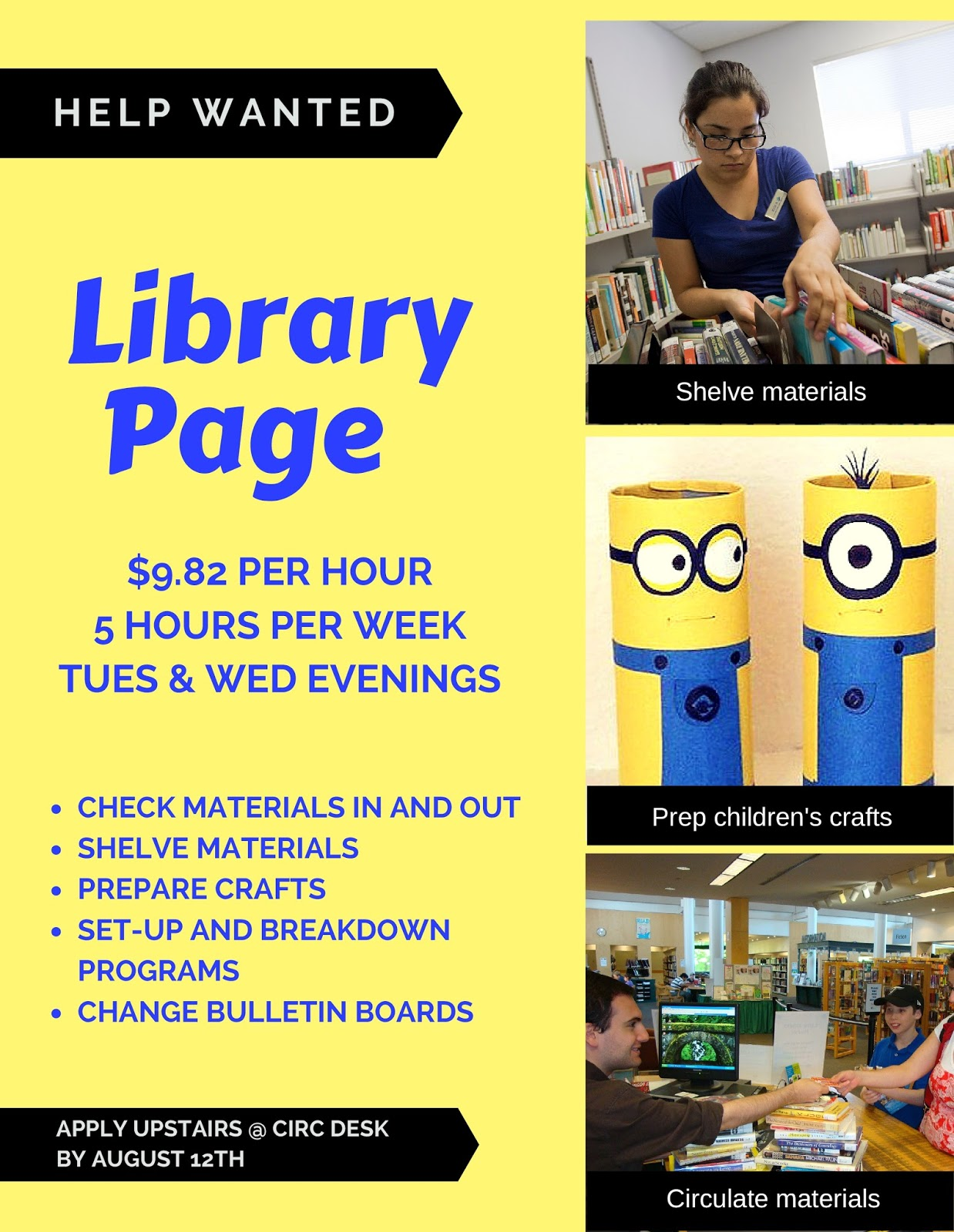 the fun of it <br> aaron cutler memorial library help help wanted part time library page
