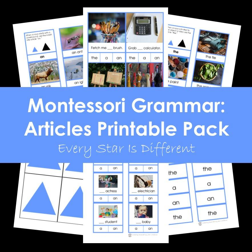 Montessori Grammar: Articles Printable Pack