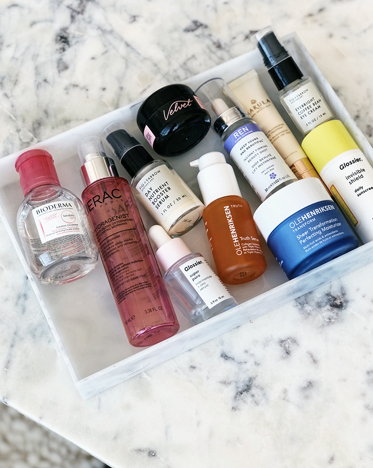Ultimate morning skincare routine by @heleneisfor: bioderma micellar water, lierac hydragenist moisturizing oxygenation replumping morning mist, fig & yarrow day nutrient boosting serum, glossier super pure serum, ren clean skincare instant firming beauty shot, velvet skin moisturizing balm, ole henriksen truth serum vitamin c, marula pure beauty oil 3-in-1 rejuvenating eye treatment, ole henriksen sheer transformation perfecting moisturizer