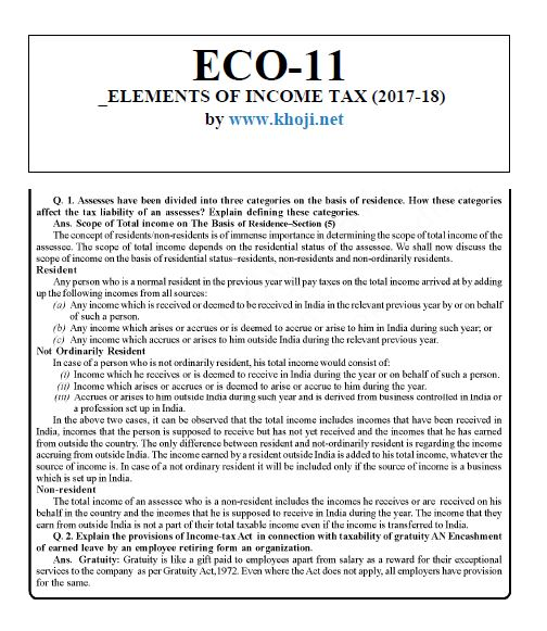 ECO-11 Elements of Income Tax Solved Assignment 2018 (FREE)