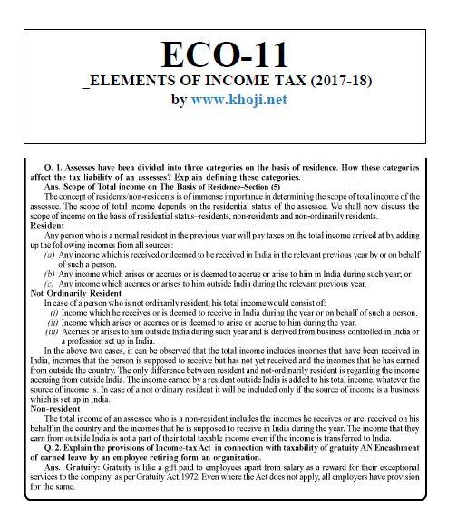 IGNOU BCOM Solved Assignment 2017-18 ECO-11 English Medium