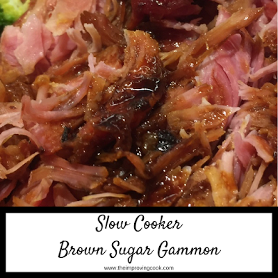 Close of up of shredded brown sugar gammon