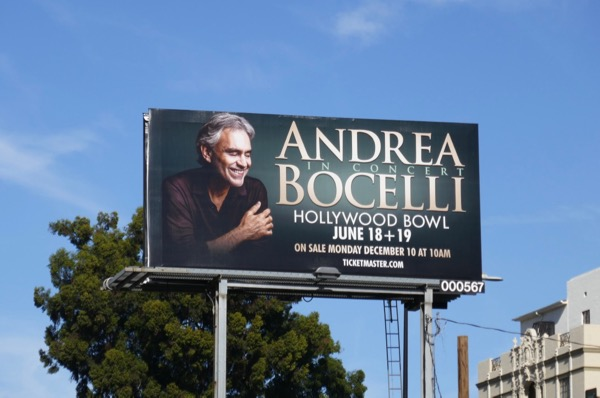 Andrea Bocelli Hollywood Bowl concert billboard
