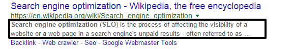 SEO Optimized search descriptions in writings