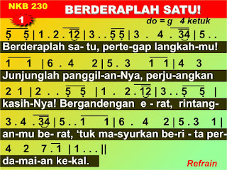 Lirik dan Not NKB 230 Berderaplah Satu Himne GKI