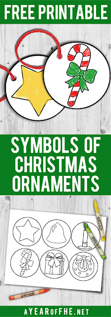 A Year of FHE // Free printable ornaments with the symbols of Christmas.  Kids can color them and then hang them on the tree to remember the true meaning of Christmas. #lds #familyhomeevening #christmas #LIGHTtheWORLD