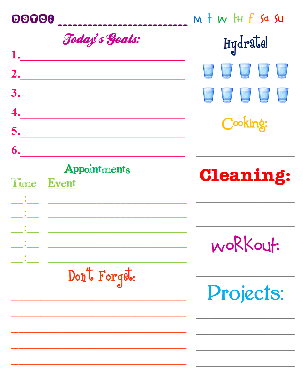 Lizzy And Jane S Free Printable Daily Planning Page