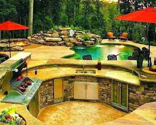 Outdoor kitchen in patio design